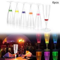 6Pcs Gelas Wine / ampagne dengan Lampu LED