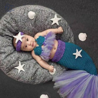 Croet Knit Newborn Mermaid Tail Costume Set Baby Photography Props