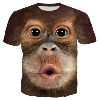 Kaos T-Shirt Lengan Pendek dengan Motif Print Binatang Monyet 3D
