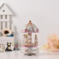 Dream 3-Horse Rotating Carousel Merry-go-round Windup Music Box