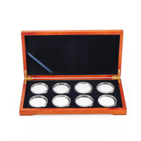 Oak Coin Wood Case Display Box Wooden Parts Storage Collection