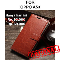 Case Oppo A53 casing hp leather dompet kulit vintage FLIP COVER WALLET