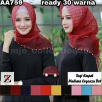 AA759- A Hijab jilbab segiempat MUTIARA organza dot 1-18 ready