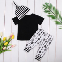 Newborn Baby Boy Girl Outfit Casual Top Pants Hat Clothes Set 3Pcs