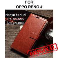 Case Oppo Reno 4 casing hp leather dompet kulit tpu FLIP COVER WALLET