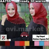 Evi.market AA759- A hijab jilbab segiempat MUTIARA organza dot 1-18 la
