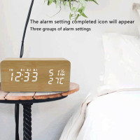 LED Wooden Temperature and Humidity Alarm Clock Table Voice Control