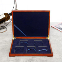 Wooden Coin Display Box Collection Case For 5PCS Certified Coin