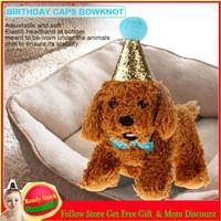Unik Topi Ulang Tahun Anjing / Kucing Model Pita Warna Biru