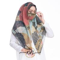 Jilbab Instan Segitiga Voal Zipper Motif Free Masker Ori NN oke