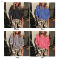 Shirt Blouse Tops Baggy Women Ladies Cold Shoulder Solid Loose