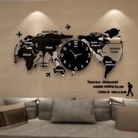 Jam Dinding Desain Peta Dunia Gaya Nordic Modern Minimalis Bahan