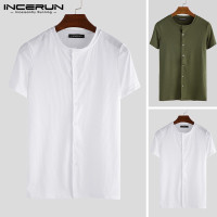 INCERUN Kaos T-Shirt Casual Slim Fit Round Neck Warna Polos untuk Pria
