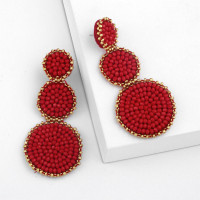 ✿Inf✿ Round Stiting Bohemian Beaded Earrings Statement Drop