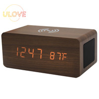 Wooden Alarm Clock with Bluetooth Speaker LED Clock Wireless Brown