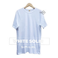 WY753 Eco Soft Kaos Polos Aneka Warna White Solid Pendek Cotton 30s Se