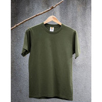 HK134 Eco Soft Kaos Polos Military Green 100 Ringspun Cotton 30s Cocok