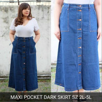 SIZE 4L 3L BIG Pocket ADA ROK BASIC Skirt JEANS Dark JUMBO 2L PANJANG