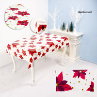 Big Tablecloth Merry Christmas Waterproof PVC Dinning Table Cover 1922