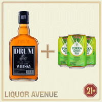 Drum Whisky Oak Aged 700ml + 3 Can Pokka Green Tea