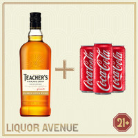 Teachers Highland Cream Whisky 700ml + 3 Can Coca Cola