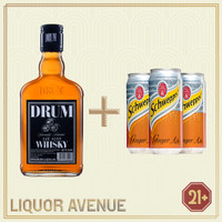 Drum Whisky Oak Aged 700ml + 3 Can Ginger Ale