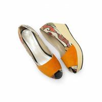 Wedges The Warna Laras Hak 7CM / Sepatu Wanita Etnik Motif Batik Mega