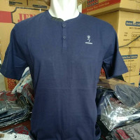 Atas Lengan fit Warna Polos O Slim T-Shirt Neck Kancing Casual dan Gre