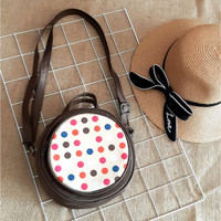 Sling Bag Handmade Wanita Original Mammora Round Bag Polkadot Brown,