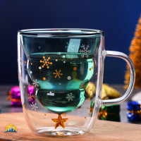 Christmas Tree Event Cup Star Water Double-Layer Glass Mugs for Cockt