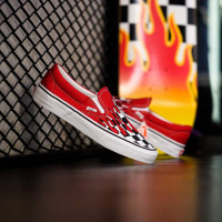 Vans Slip On Checkerboard Flame Red