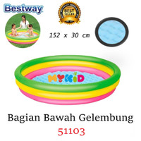 ZY230 Kolam Renang Anak Sunset Glow 4 Ring Rainbow Pool Intex 56441 16