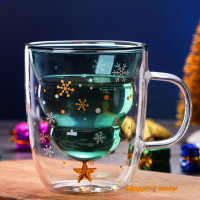 ★SC ristmas Tree Event Cup Star Water Double-Layer Glass Mugs for