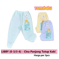 Piyama Bayi -) LIBBY 3pcs Celana Panjang Tutup Kaki Bayi WARNA (0-3bl