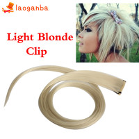 L□ Light Blonde Long Punk Clip On Hair Straight Extensions