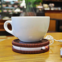 USB Cup Mat Insulation Coaster Cookie Shaped USB Heating Warmer Cup