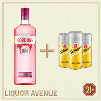 Gordon Premium Pink Gin 750ml + 3 Can Tonic Water