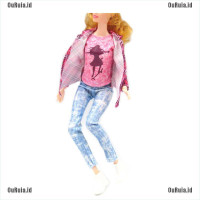 LK 1set doll clothes outfit casual pantscoatshirt for barbie doll