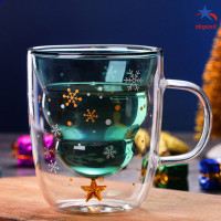 ZKG Christmas Tree Event Cup Star Water Double-Layer Glass Mugs f F260