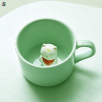 3D Mug Animal Inside Cup Cartoon Ceramics Figurine Teacup ristmas