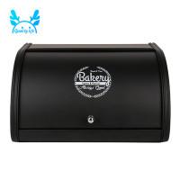 Black Roll Top Metal Flip-Baked Dust-Proof Storage Box Bread Bin