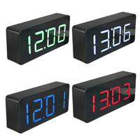 Global Acrylic Mirror Wooden Digital LED Alarm Clock Time