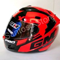 Helm Fullface GM Race Pro ZR Merah Red Single Visor Dark Smoke acce