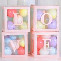 4pcs DIY Transparan Balon Box Untuk Boy Gadis Baby Shower