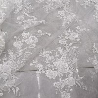 White wedding dress fabric flower line embroidery French Justrip Story
