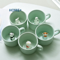 @id Tsuc 3D Mug Animal Inside Cup Cartoon Ceramics Figurine Teacup