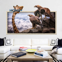 3D Photo Frame Animal Giraffe Eagle Wall Sticker Bedroom Living Room