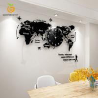 World Map Wall Clock Nordic Modern Minimalist Decoration Acrylic for
