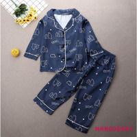 ♬MG♪-Kids Long Sleeve Satin Silk Pajamas Set Casual Nightwear