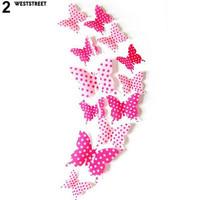 12 Pcs 3D Stiker Dinding Kupu-kupu Magnet Kulkas Pernikahan DIY